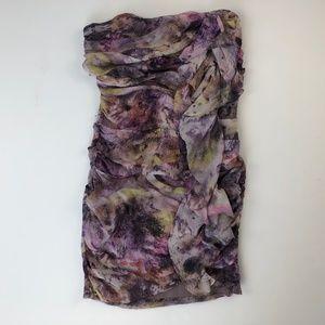 Elizabeth & James XS Silk Purple Dress Watercolor